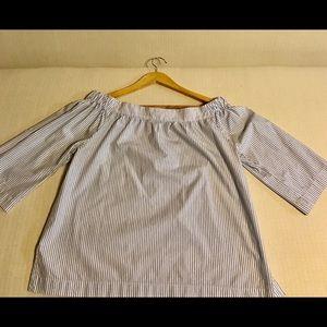 Women's  Madewell Stripe off Shoulder Blue blouse